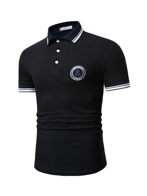 Ericdress Print Color Block Mens Neck Polo Shirt