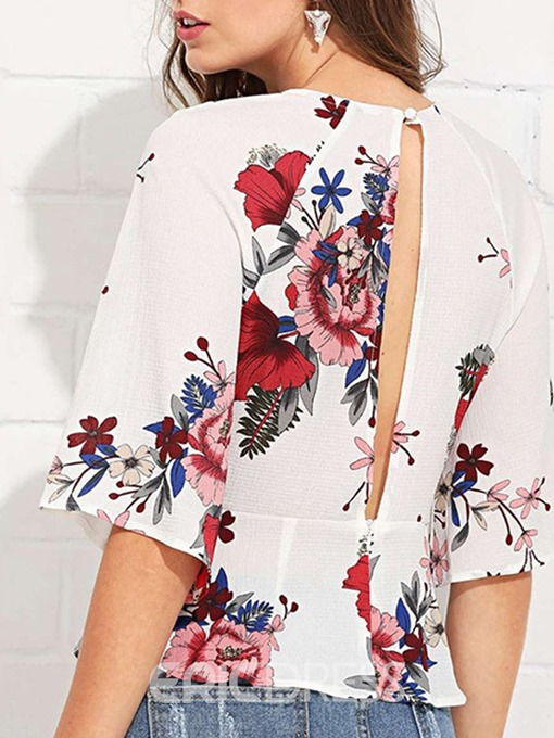 Ericdress Floral Print Lace-Up Standard Blouse