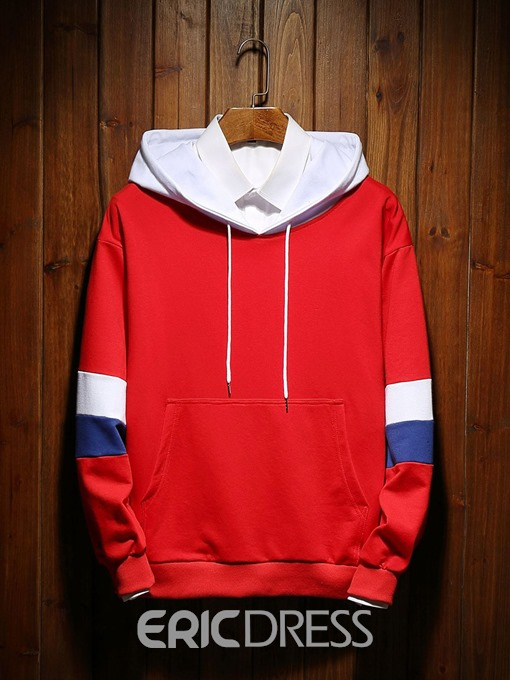 Ericdress Color Block Pullover Pocket Loose Men's Casual Hoodies
