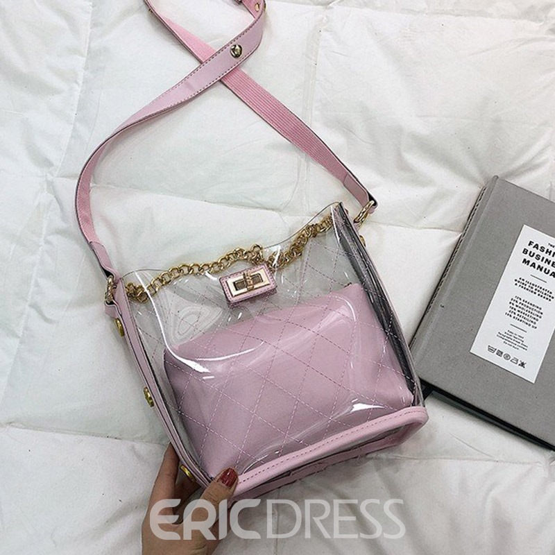 Ericdress Quilted Lining Plaid PVC Barrel-Shaped Shoulder Bags