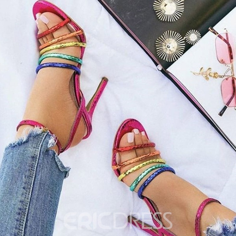 Ericdress Color Block Ankle Strap Stiletto Heel Open Toe Women's Sandals