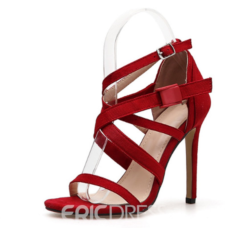 Ericdress PU Buckle Open Toe Stiletto Heel Women's Sandals