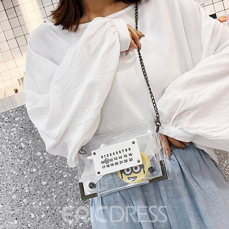 Ericdress Number PVC Print Flap Crossbody Bags