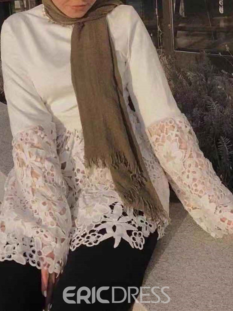 Ericdress Flare Sleeve Patchwork Lace Blouse
