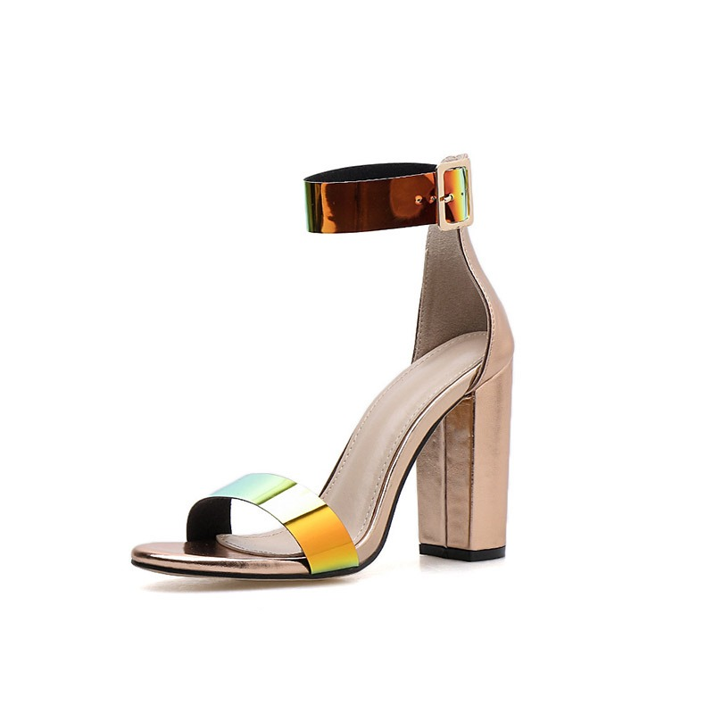 Ericdress PU Buckle Open Toe Chunky Heel Heel Women's Sandals