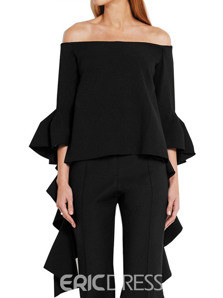 Ericdress Plain Patchwork Three-Quarter Sleeve Blouse