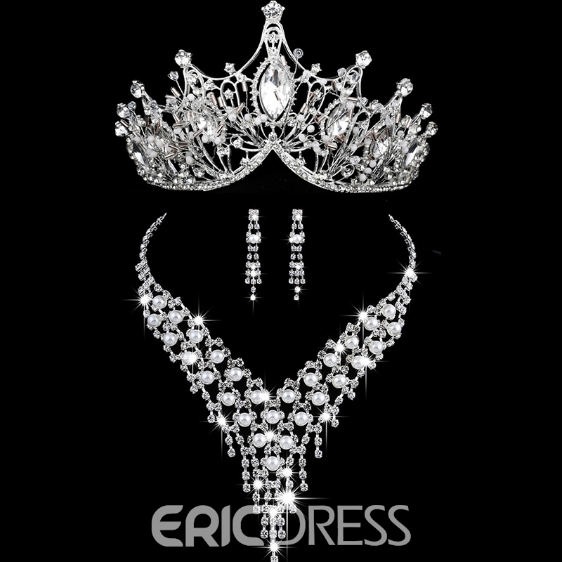 Crown Earrings E-Plating Jewelry Sets (Wedding)