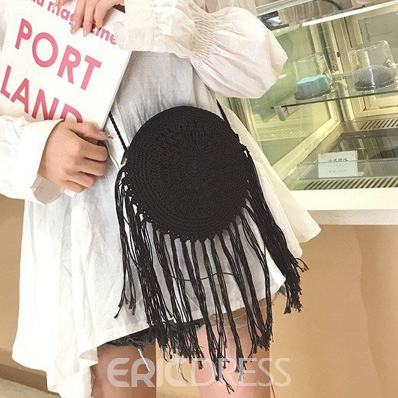 Ericdress Plain Nylon Knitted Circular Crossbody Bags