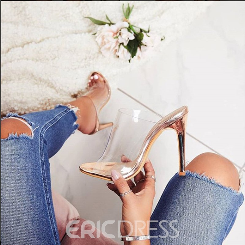 Ericdress PVC Stiletto Heel Women's Mules Shoes