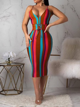 Ericdress Backless Sleeveless V-Neck Spaghetti Strap Stripe Dress