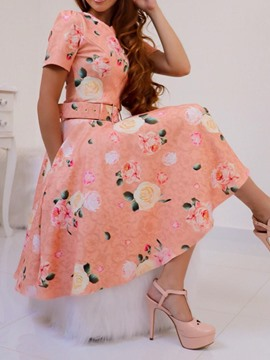 Ericdress Print Short Sleeve Knee-Length A-Line Dress