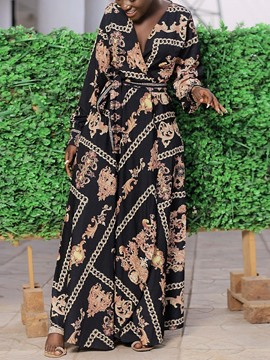 Ericdress Floor-Length Print Long Sleeve High Waist Western Dress