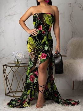 Ericdress Sleeveless Print Floor-Length Mid Waist Travel Look Dress
