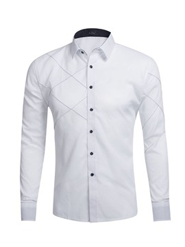 Ericdress Casual Lapel Plain Mens Spring Slim Shirt
