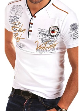 Ericdress V-Neck Embroidery Casual Mens Short Sleeve Slim T-shirt
