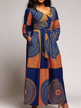 Ericdress Long Sleeve Floor-Length Print Western A-Line Dress