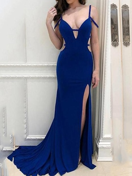 Ericdress Beading V-Neck Backless Mermaid Evening Dress 2019