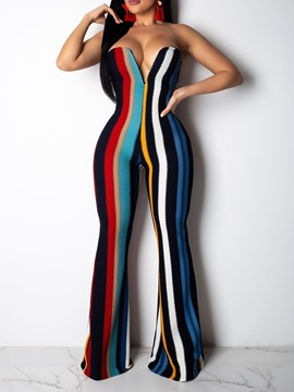 Ericdress Stripe Full Length Sexy Slim Jumpsuit