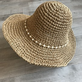 Ericdress Straw Plaited Article Pearl Summer Plain Hat