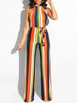 Ericdress Stripe Slim Belt Full Length High Waist Jumpsuit