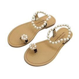 Ericdress Beads Toe Ring Women's Flat Sandals