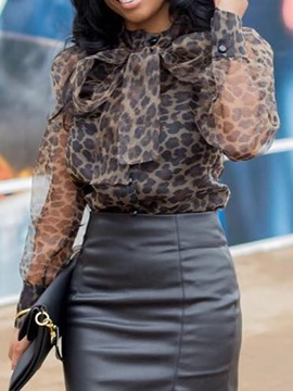 Ericdress African Fashion Leopard Lace-Up Blouse