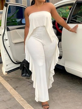 Ericdress Ruffles White Plain Backless Slim Jumpsuit