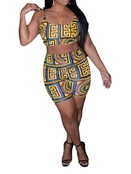Ericdress Geometric Print Straight Pullover Vest And Short Two Piece Sets