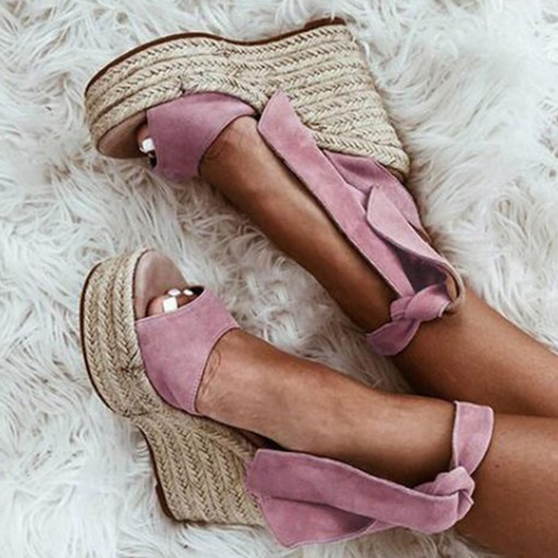 Ericdress Faux Suede Lace-Up Open Toe Wedge Heel Women's Sandals