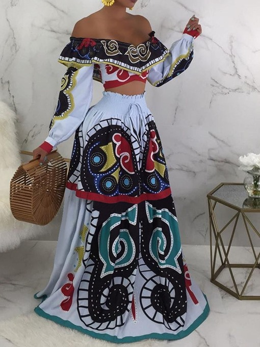 Ericdress Print African Fashion Floral T-Shirt And Skirt Two Piece Sets