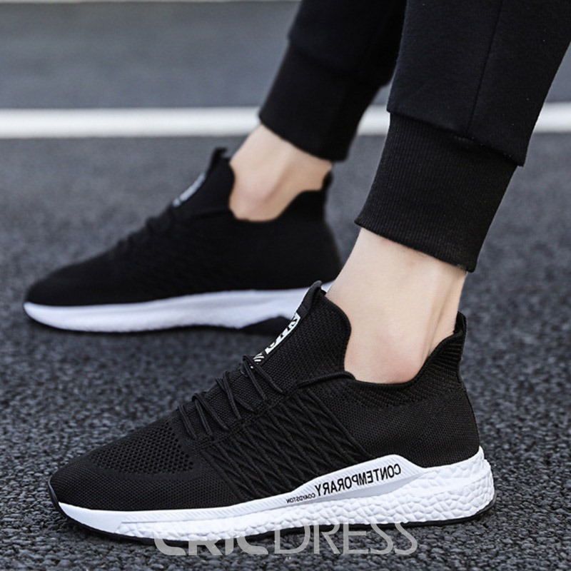 Ericdress Plain Mesh Lace-Up Men's Casual Sneakers