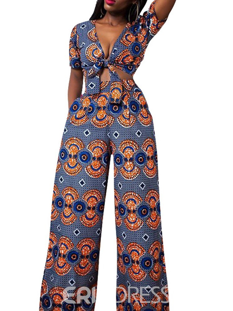 Ericdress Backless Geometric African Style Lace-Up T-Shirt And Pants Two Piece Sets