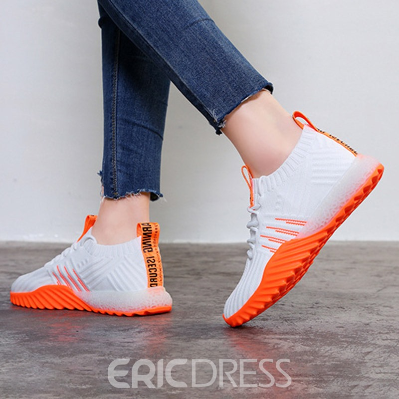 Ericdress Mesh Lace-Up Round Toe Color Block Women's Sneakers
