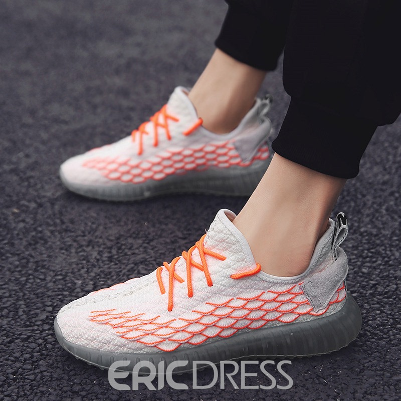 Ericdress Mesh Lace-Up Round Toe Men's Walking Sneakers