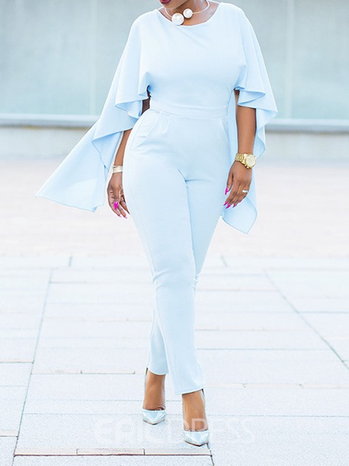 Ericdress Flare Sleeve Plain Full Length Slim Jumpsuit