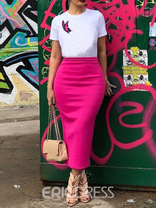Ericdress Print Round Neck Bodycon Pullover T-Shirt And Skirt Two Piece Sets