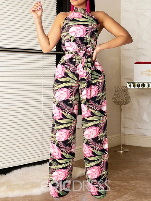 Ericdress African Fashion Floral Print Backless Wide Legs Vest And Pant Two Piece Sets
