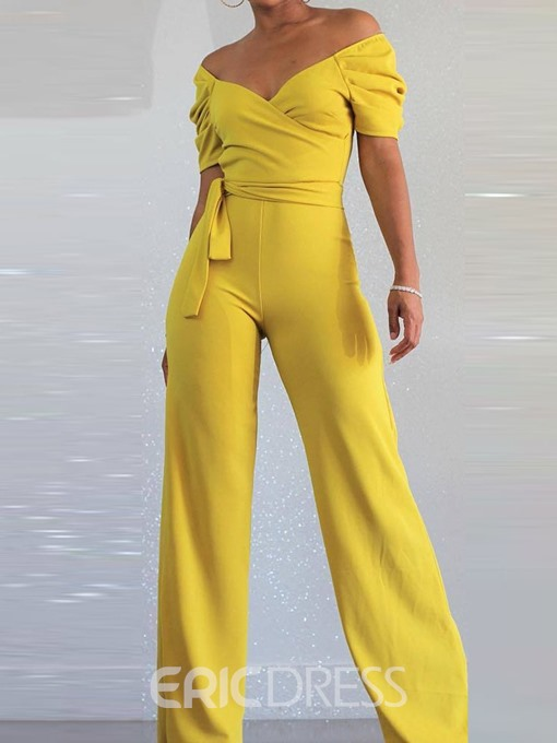Ericdress Yellow Lace-Up Plain Slim Jumpsuit
