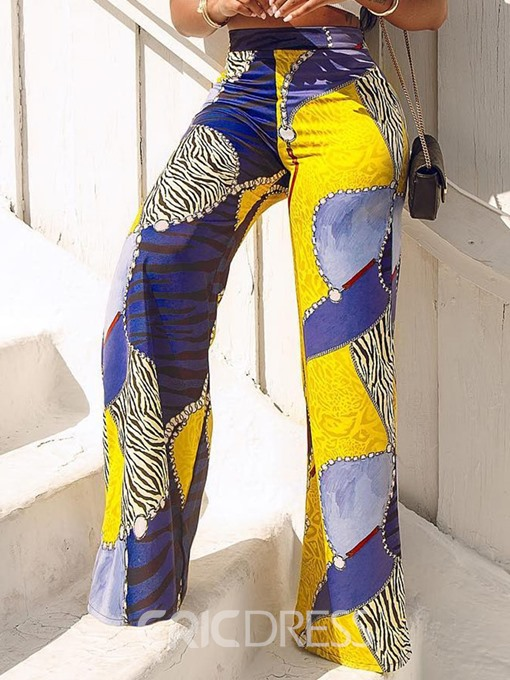 Ericdress African Fashion Print Color Block Slim Full Length High Waist Casual Pants