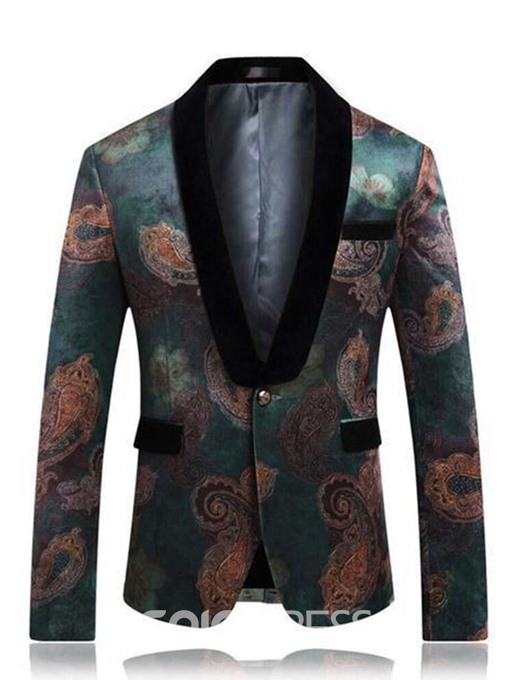 Ericdress Floral Printed One Button Mens Casual Retro Lapel Blazer