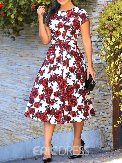 Ericdress African Fashion Print Mid-Calf Date Night Pullover Dress