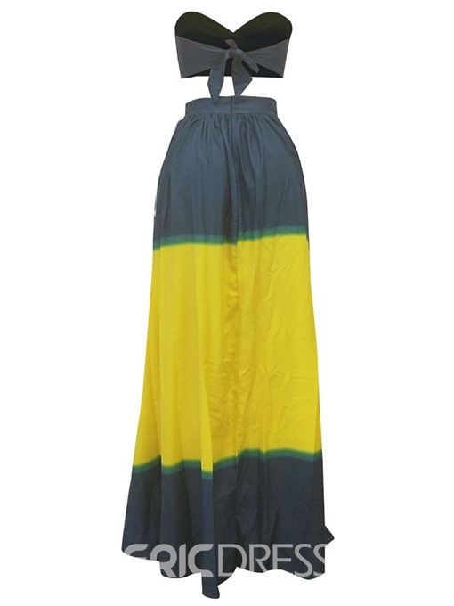 Ericdress Color Block Pleated Sexy T-Shirt And Maxi Skirt Two Piece Sets