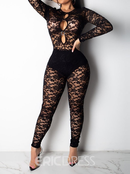 Ericdress Plain Lace See-Through Sexy Skinny Jumpsuit