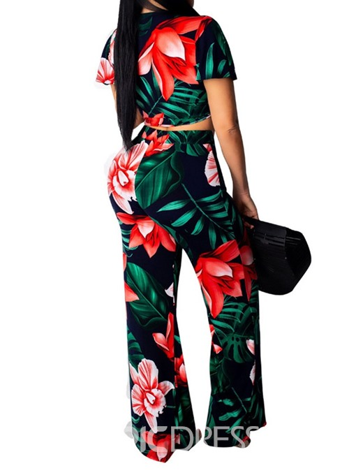 Ericdress Sexy Print Floral Lace-Up Wide Legs T-Shirt And Pant Two Piece Sets