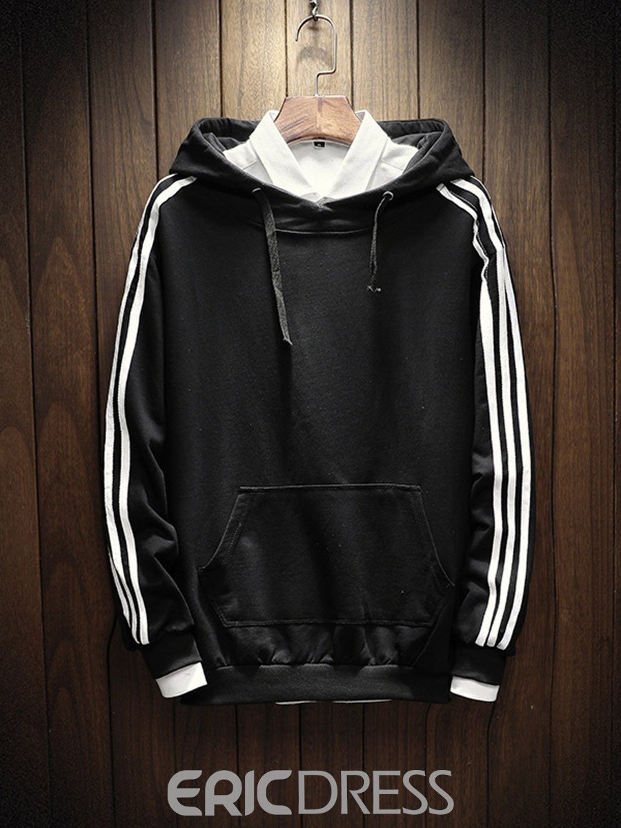 Ericdress Stripe Pocket Men's Pullover Hoodies