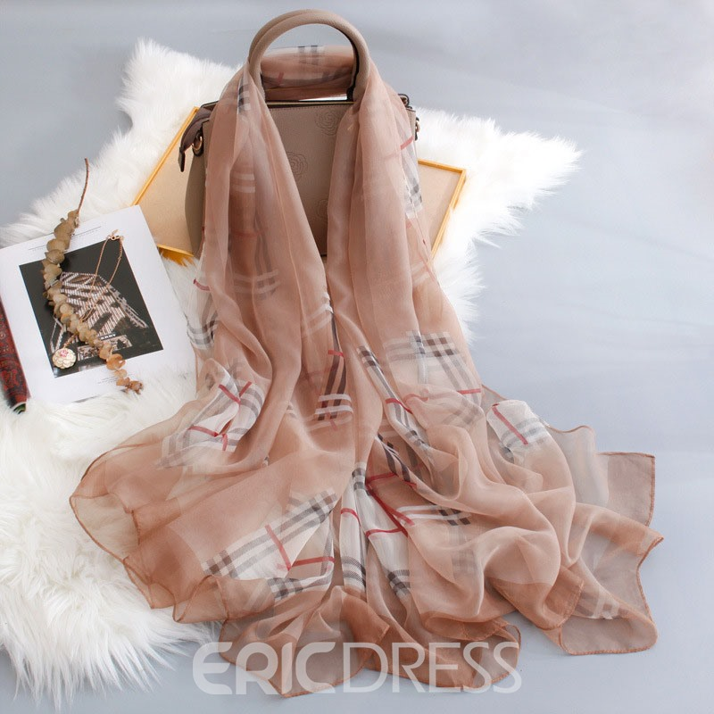Ericdress Chiffon Charmeuse Plaid Scarf