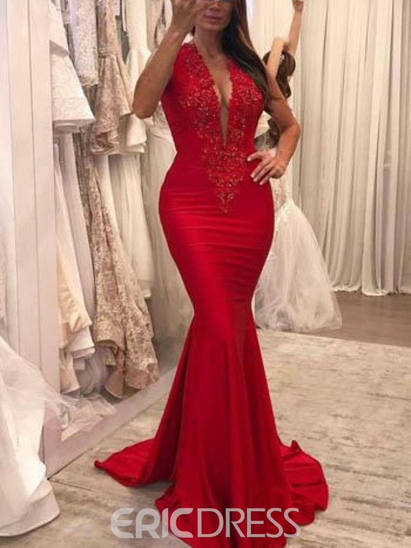 Ericdress V-Neck Applique Mermaid Evening Dress 2019