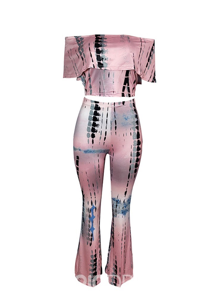 Ericdress Stripe Off Shoulder Print Skinny T-Shirt And Pants Two Piece Sets