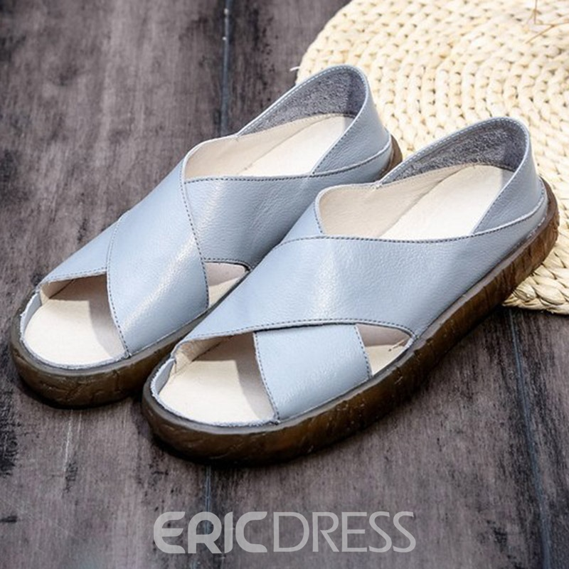 Ericdress PU Open Toe Slip-On Women's Flat Sandals