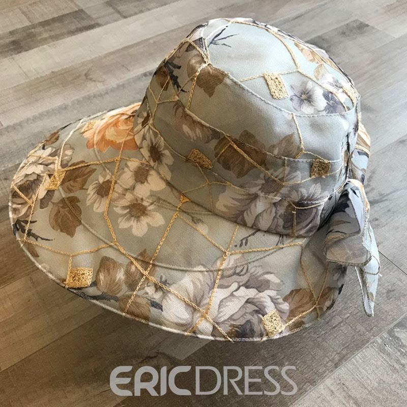 Ericdress Charmeuse Summer Floral Sun Hat